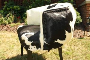 Before and After: Cowhide Reupholstered Chair