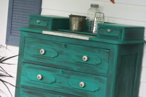 Turquoise Paint Washed Front Porch Dresser