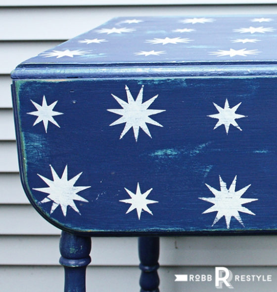 Starry Night Stencil Holiday Table Makeover
