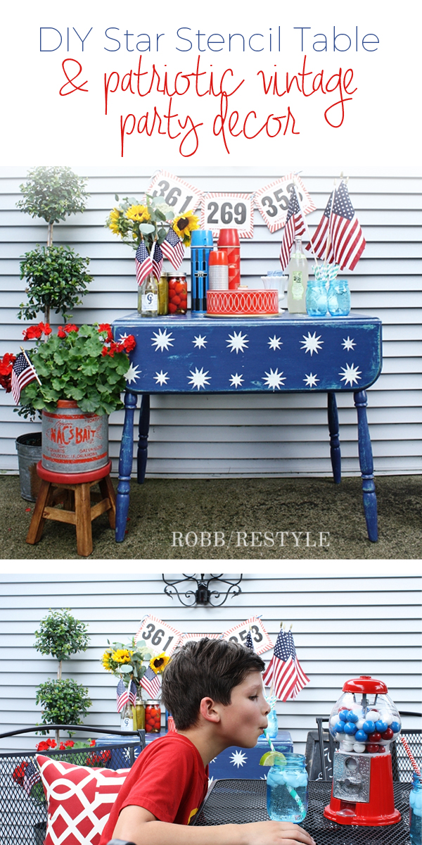 DIY Star Table with Patriotic Vintage Party Decor