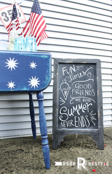 Starry Night Stencil Holiday Table Makeover with Chalkboard Lettering