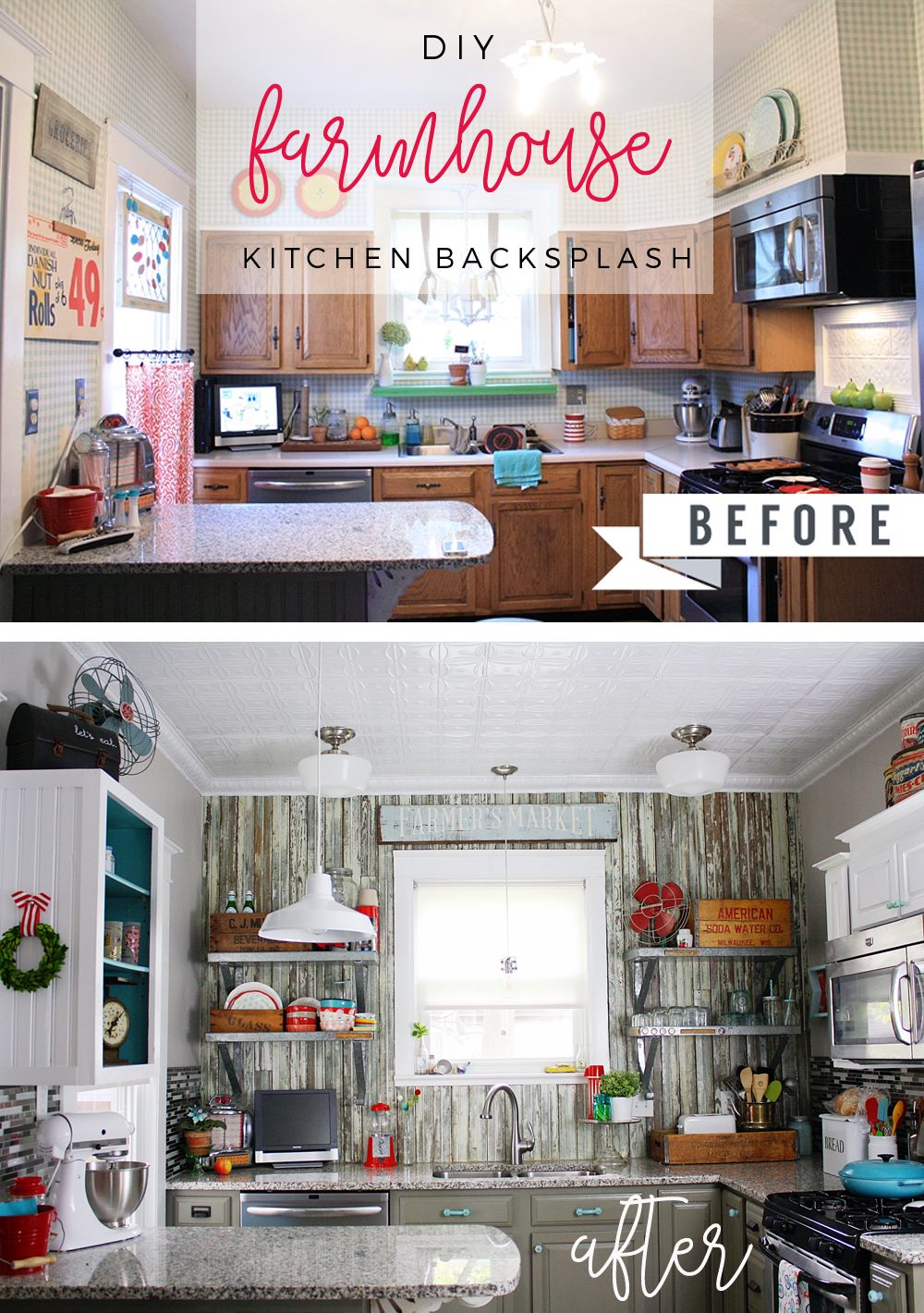DIY Farmhouse Kitchen Backsplash