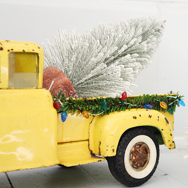 Holiday Trimmings with Vintage Toy Trucks
