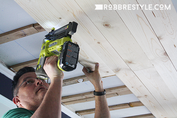 DIY Shiplap Bedroom Ceiling with Ryobi Miter Saw