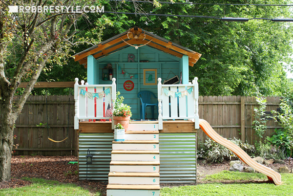 Backyard Playhouse Makeover - We painted the hideaway!